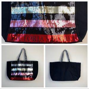 Victoria Secret Canvas Multi Color Sequin Tote Bag